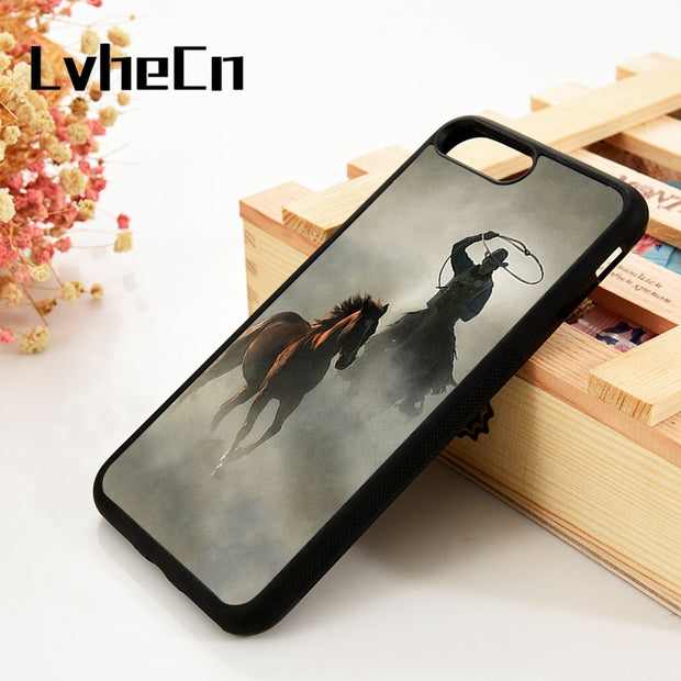 LvheCn 5 5S SE 6 6S Phone Cover Cases For IPhone 7 8 PLUS X Xs Max XR Soft Silicone Rubber Rodeo Cowboy Lasso Horse