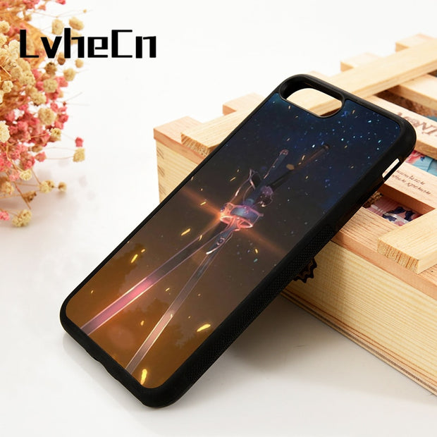 LvheCn 5 5S SE 6 6S Phone Cover Cases For IPhone 7 8 PLUS X Xs Max XR Soft Silicone Rubber Sword Art Online Kirito Dual Swords