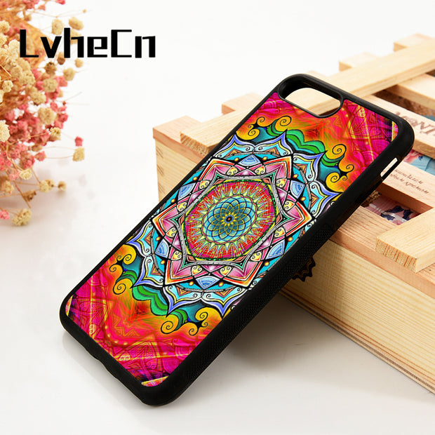 LvheCn 5 5S SE 6 6S Phone Cover Cases For IPhone 7 8 PLUS X Xs Max XR Soft Silicone Rubber Unique Mandala Pattern