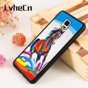 LvheCn S3 S4 S5 Phone Cover Case For Samsung Galaxy S6 S7 S8 S9 Egde Plus Note 4 5 8 9 Silicone Rubber BEAUTIFUL HORSE COLOURFUL