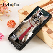 LvheCn S3 S4 S5 Phone Cover Case For Samsung Galaxy S6 S7 S8 S9 Egde Plus Note 4 5 8 9 Silicone Rubber Cute Business Cat Pattern