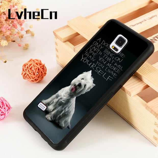 LvheCn S3 S4 S5 Phone Cover Cases For Samsung Galaxy S6 S7 S8 S9 Egde Plus Note 4 5 8 9 Westie West Highland Terrier Puppy Dog