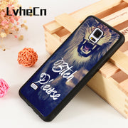 LvheCn S3 S4 S5 Phone Cover Cases For Samsung Galaxy S6 S7 S8 S9 Egde Plus Note 4 5 8 9 Silicone Funny Bitch Please Lion Quote