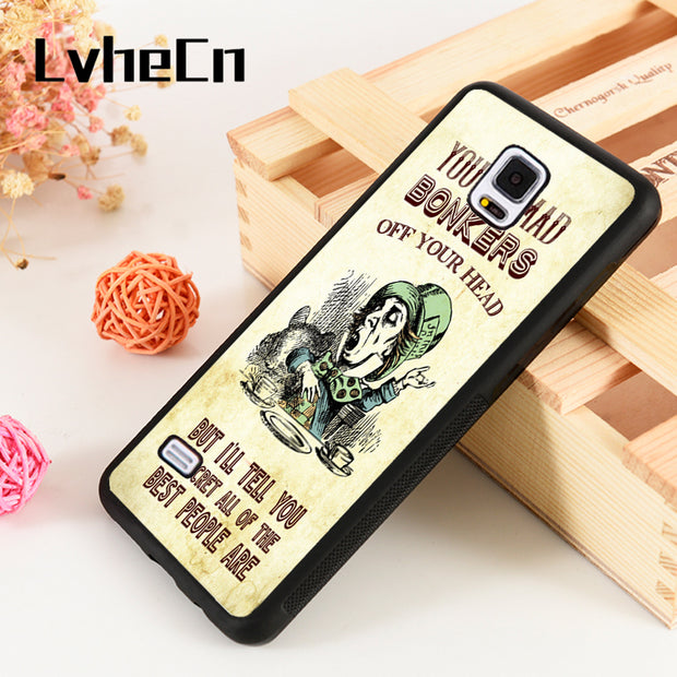 LvheCn S3 S4 S5 Phone Cover Cases For Samsung Galaxy S6 S7 S8 S9 Egde Plus Note 4 5 8 9 You're Mad, Bonkers. Hatter Alice Quote