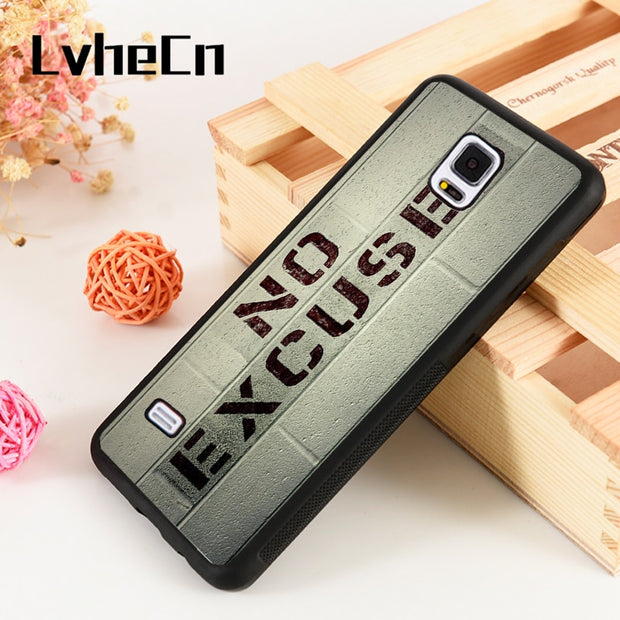 LvheCn S3 S4 S5 Phone Cover Cases For Samsung Galaxy S6 S7 S8 S9 Egde Plus Note 4 5 8 9 GYM Motivation No Excuses Brick Wall