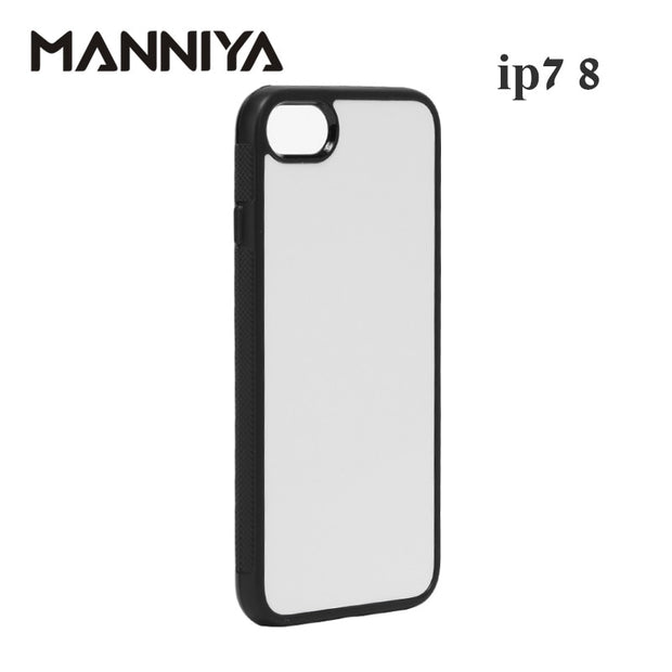 MANNIYA 2D Sublimation Blank Rubber TPU+PC Case For Iphone 7 8 With Aluminum Inserts And Tape Free Shipping! 100pcs/lot