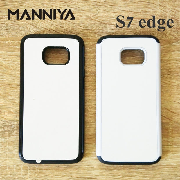 MANNIYA Blank 2D Sublimation TPU+PC 2-in-1 Case For Samsung Galaxy S7 Edge With Aluminum Inserts And Tape Free Shipping!50pcs
