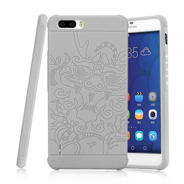 MLLSE For Honor 6 Plus Armor Anti Hit Shockproof Silicone Case For Huawei Honor 6+ 3D Curved Dragon Drop Resistance Rubber Cover