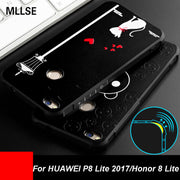 MLLSE For Honor 8 Lite Case 3D Stereo Relief Painting Back Cover For HUAWEI P8 Lite 2017 Full Protective Shockproof Phone Fundas