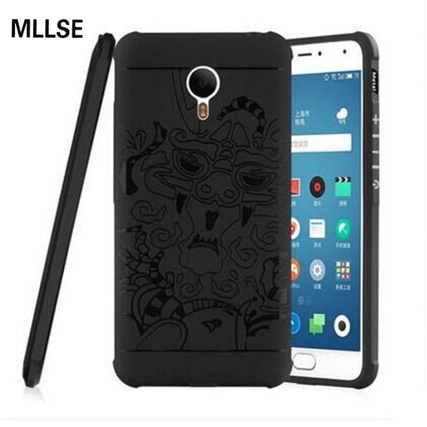 MLLSE Slim Armor Anti Hit Shock Proof Silicone Phone Case For Meizu Metal 3D Curved Dragon Shockproof Soft Rubber Cover Fundas