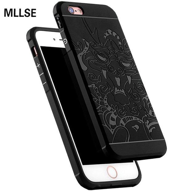 "MLLSE Slim Drop Resistance Armor Anti Hit Silicone Phone Case For IPhone 6/6S Plus 5.5"" 3D Carved Dragon Soft Rubber Cover Funda"