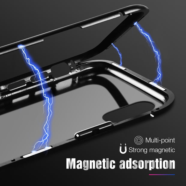 Magnetic Adsorption Phone Case For IPhone X 10 7 Metal Magnet Tempered Glass Cases For IPhone 8 7 Plus Flip Cover Coque