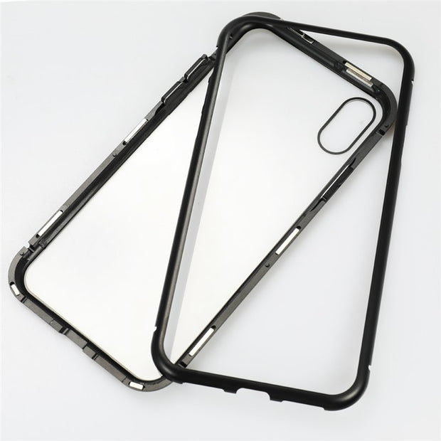 Metal-rimmed Mobile Phone Case Hardened Glass Magnetic Adsorption Protection Smartphone Cover Bumper Aluminum Frame Cases P15
