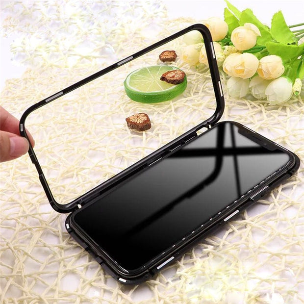 Metal-rimmed Mobile Phone Case Hardened Glass Magnetic Adsorption Protection Smartphone Cover Bumper Luxury Aluminum Frame Cases