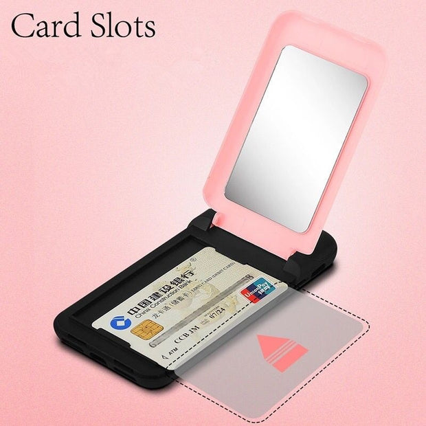 Mirror Flip Case For IPhone X 8 7 6 6s Plus Multifunction Wallet Stand Holder Cover Makeup Phone Cases + Card Slots Coque Fundas