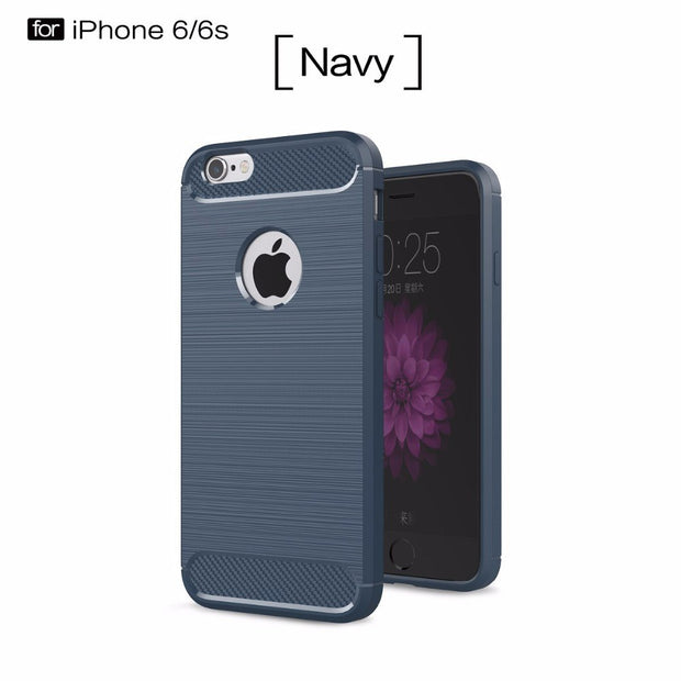 Mobilephone Cases For Apple Iphone6/6s,50pcs/lot,Carbon Fiber Rugged Armor TPU Slim Cover For Iphone6/6s,ultra-thin,4.7inch