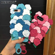 New 3D Cute Romantic Rose Flowers Phone Case For IPhone XS MAX XR 8 7 Plus 6 6s Plus Soft Silicone Luxury Fashion Free Lanyard