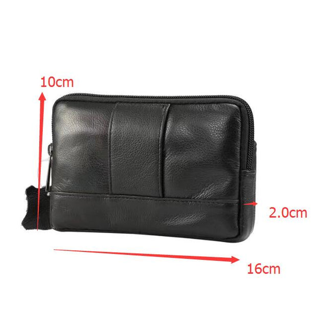 New Fashion Men Genuine Leather Waist Bag Cell / Mobile Phone Case For HomTom S7/ IMAN Victor S/Blackview S8/Doogee S30