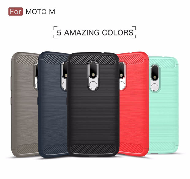 New Smartphone Protector Case For MOTO M,50pcs/lot,carbon Fiber Rugged Armor TPU Back Cover Case For Motorola M,free Shipping