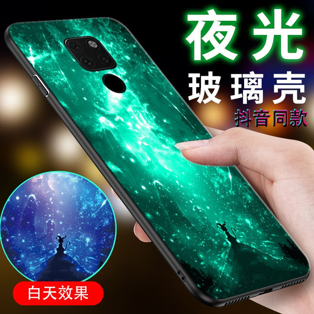 Noctilucence Glass Phone Case For Huwei Mate20x 20 Y PLAY Y6X Y7A Case For Huwei Nova 2s 3e3i 3 6 7 Case For Enjoy 7 8 Plus