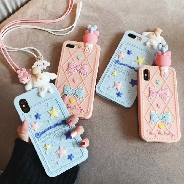 ORYKSZ 3D Cute Cartoon Melody Phone Hand Strap Case For IPhone 6 6s 7 8 Plus X XS XR XSMAX Soft Silicone Cover Fundas Coque Capa