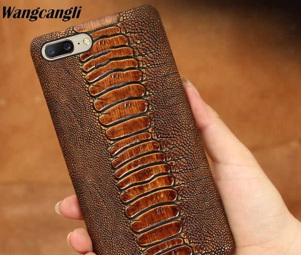 Ostrich Foot Texture Genuine Leather Phone Case For Oneplus 6 Cowhide Half Bag Phone Protection Case For Oneplus 3t 5 5t 6