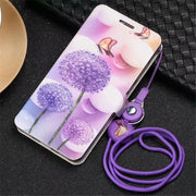 PDGB Case For Meizu M3 Note M5 M5s M6 Note M6S U10 U20 Color Painting Leather Cover Butterfly Flower Tower+Original Lanyard