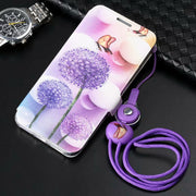 PDGB Case For IPhone 5 5s SE 6 6s Plus 7 8 Plus X XR XS Max Color Painting Leather Cover Butterfly Flower Tower+Original Lanyard