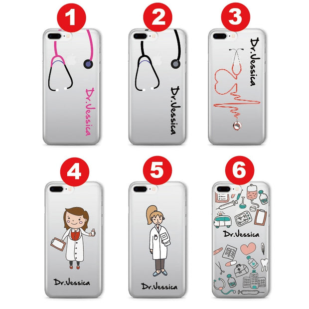 Personalized Custom Name Doctor Hospital Nurse Soft Clear Phone Case For IPhone 6 6S 7 7Plus 8 8Plus 5 X XS Max SAMSUNG Galaxy