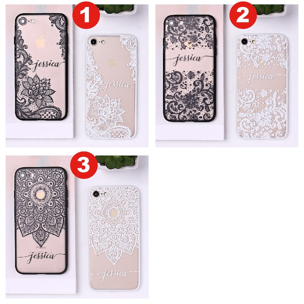 Personalized Custom Name Text Floral Lace Soft Clear Phone Case Cover Coque Fundas For IPhone 6 6S XS Max 7 7Plus 8 8Plus 5 X