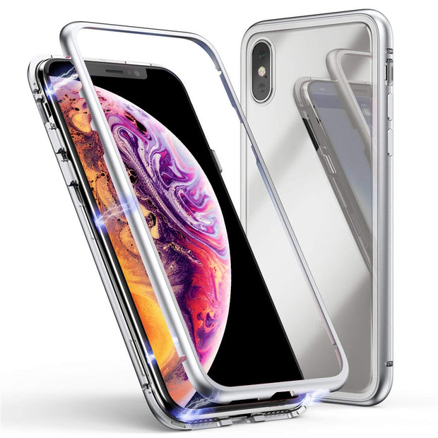 Phone Case For IPhone XS 5.8 Inch Magnetic Adsorption Metal Bumper Glass Case Cover Ultrathin Cases Back Back Cover For IPhone