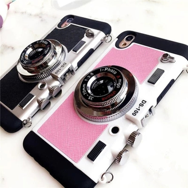 Phone Case For IPhone X Originality Newest Camera Novel Style Silicone Soft Long Strap Rope Cover Cases For IPhone 6 6S 7 8 Plus