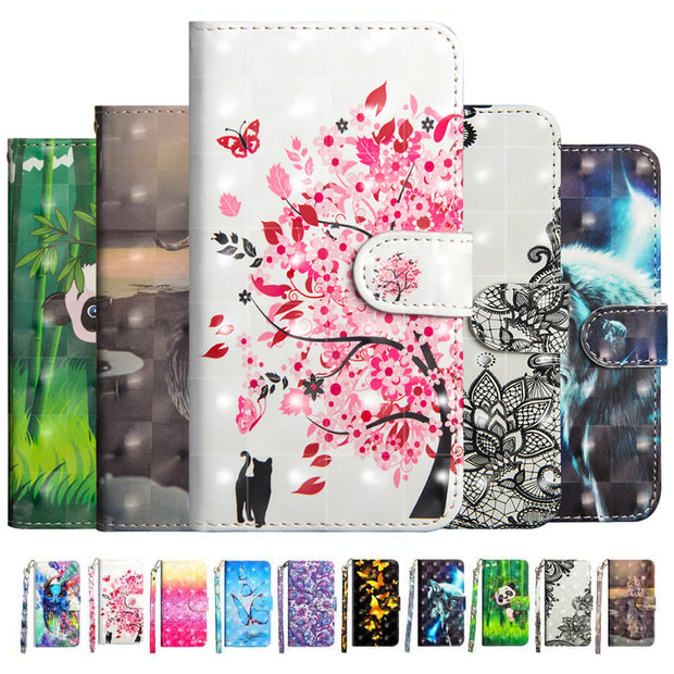 Phone Etui Coque Cover Case For IPhone 8 7 6 6S Plus X XR MaX 5 5S SE With Soft TPU 3D Painted Glossy PU Leather Flip Wallet