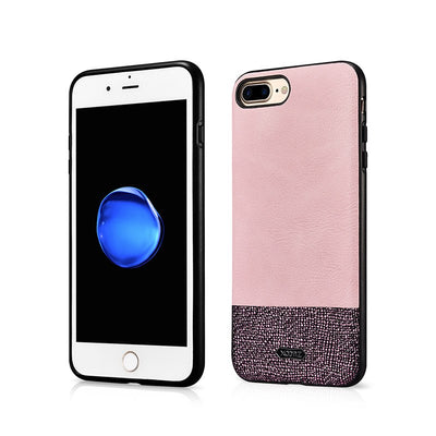 (Pink) XOOMZ Brand High Quality PU Leather Case For IPhone 7 Plus/iPhone 8 Plus Splicing Elegant Fashion Back Cover (A0131)