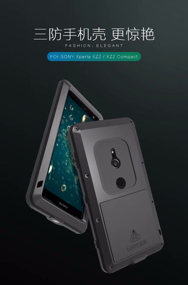 Powerful Case For Sony Xperia XZ2 Love Mei Brand Life Waterproof Shockproof ALuminum Metal Tough Armor Case For Sony XZ2 Compact