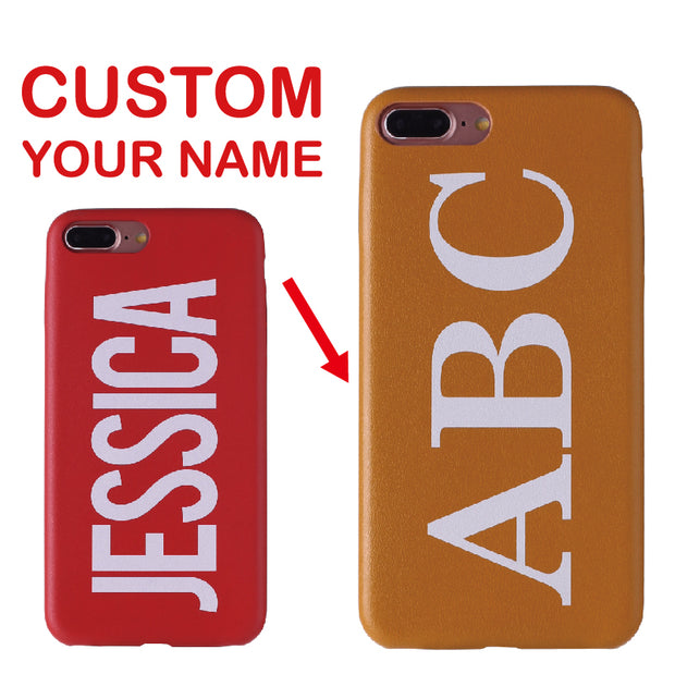 Real Leather Luxury Bold Custom Name Text Initial Phone Case Cover Coque Fundas For IPhone X 6 6S 6Plus 7 7Plus 8 8Plus 5 SE