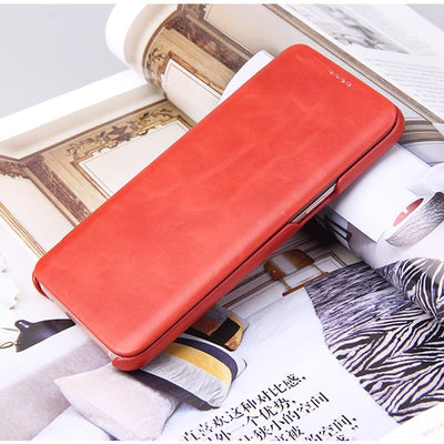 (Red) Fierre Shann Brand Business Genuine Leather Cover For Samsung S8 Plus Magnetic Closure Ultra Thin Skin Flip Case (D0217)