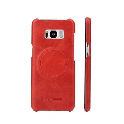 (Red) Fierre Shann Brand Cowhide Case For Samsung Galaxy S8 Plus Oil Wax Pattern With Car Suction Ultra Thin Back Cover(D0210)