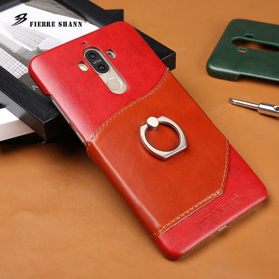 (Red) Fierre Shann Brand Knight Genuine Leather Case For Huawei Mate9 Card Solt & Finger Ring Ultra Thin Back Cover (D0286)
