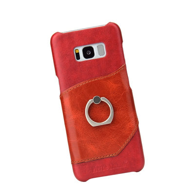 (Red) Fierre Shann Brand Knight Genuine Leather Case For Samsung S8 Plus Card Solt & Finger Ring Ultra Thin Back Cover (D0196)