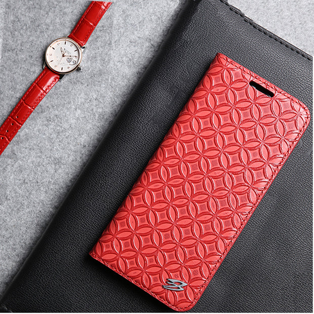 (Red) Fierre Shann For Samsung Galaxy S8 Plus Case Genuine Leather Flip Case Chinese Coin Pattern Folio Cover Card Slot Stand