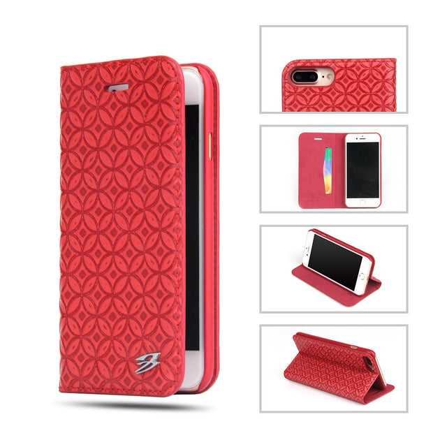 (Red) Fierre Shann For IPhone 7 Plus Case Real Leather Flip Case For IPhone 7 Plus/8 Plus Chinese Coin Pattern Card Slot Stand