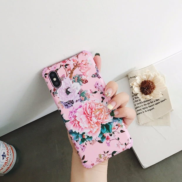 Retro Slim-Fit Shock Proof IMD Forest TPU Cover With Glossy Pink Flamingo Pattern For IPhone 6 6S 7 8 Plus X