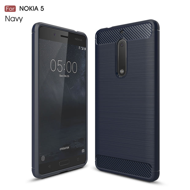 Rugged Armor Cases For Nokia3 50pcs/lot Carbon Fiber Cover For Nokia5 Case Shockproof Heavy Duty Cover For Noika6