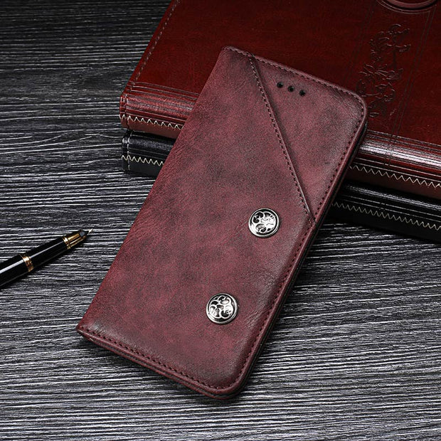SHIODOKI For Asus ZC554KL Luxury Leather Cover Flip Case For Asus Zenfone 4 Max ZC554KL Phone Protective Case Retro Back Cover