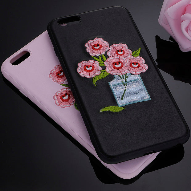 SHY Fashion 3D Case For Apple IPhone 7 Plus Embroidery Flower Design Phone Cover New
