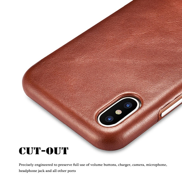 SLEO Genuine Leather Case For IPhone XS XS Max XR Case Luxury Retro Leather Flip Cover Case For IPhone Xr Xs Max X Cowhide Cover