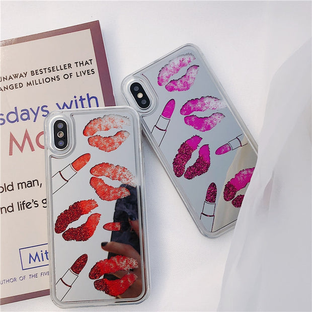 Sexy Lips Dynamic Quicksand Glitter Powder Case For Iphone X 8 7 6 6s Plus Clear Mirror Cover Soft Edge Phone Case