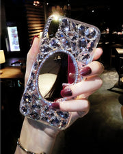 Shiny Girl Lady Handmad Case For Samsung Galaxy S6 S7 Edge S8 S9 Plus Note 5 8 9 Silver Crown Crystal Diamond Phone Case Cover