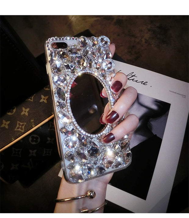Shiny Girl Lady Handmad Case For Xiaomi Redmi 4X 4A 5A 5 6A Note5 8 MIX2 MAX 5C 5X Silver Crown Crystal Diamond Phone Case Cover